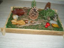 lesni paloucek podzimni dekorace