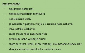 Projevy ADHD